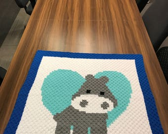 Hippo Heart Baby Blanket