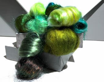 Green Fiber kit, Sampler, wool, firestar, glitz, Needle, Wet Felting, Spinning, mini batt, green roving, Dark, medium, light green, 1 oz