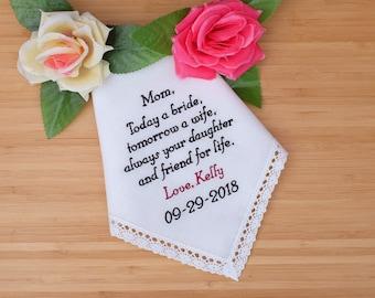 Mother of the Bride Gift. Linen Handkerchief. Personalized Handkerchief. Embroidered Handkerchief. Wedding gift for Mom. Hanky/ Hankerchief