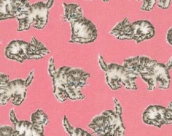Fat Quarter Whiskers And Tails Cats Kittens On Blush Sew Cotton Quilting Fabric