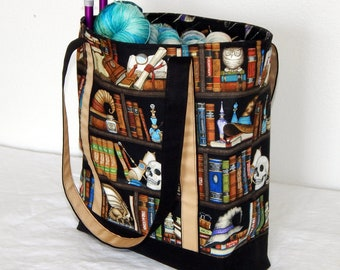 Large zippered tote bag, zippered interior pocket, fully lined, extra long straps, Harry Potter, The Restricted Section