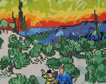 Van Gogh's Landscape w/Couple walking under a Crescent Moon-LB13286