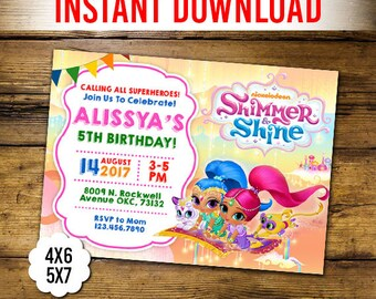 Shimmer and Shine Invitation, Shimmer and Shine Birthday, Shimmer and Shine Birthday Invitation, Shimmer, Editable PDF , Instant Download