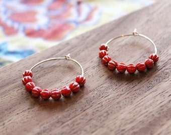 gold filled bright coral gold czech glass hoop earrings