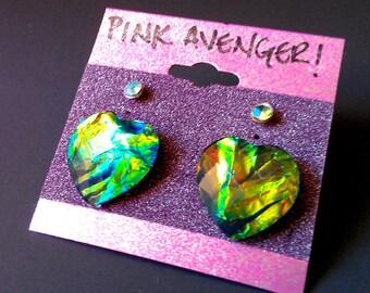 Green Opal Heart Post Earring Set - Iridescent Green Fire Opal Pattern Resin Heart & Gold Studs w/ Aqua Crystals - Magical Unicorn Fashion
