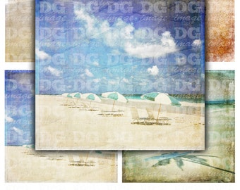 Retro Beach Theme 4x4 inch tiles - Sea, Sand, Summer - Digital Collage Sheet 4 inch square for Coasters, Card Making, Scrapbooking, Cards