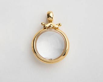 Large Rock Crystal Gold Pendant, Round Bezel Pendant, 18k Yellow Gold Pendant, Women's Bezel Necklace, Cocktail Pendant Clear