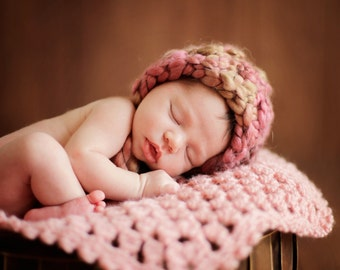 Crochet PATTERN Baby Newborn Doily & BONNET Petal Stitch Doily and Bonnet
