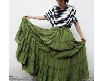 Custom Made Green Cotton Boho Hippie Long Ruffle Elastic Waist Skirt S-L  (H)
