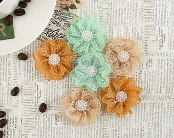 "NEW: Prima Coffee Break ""Chai Tea"" 578527 (Brown Peach Mint) Lace Fabric Flowers. Scrapbooking, Wedding, Hair Accessories."