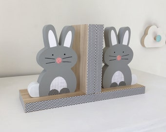 Bunny Bookends, Gray,  Woodland Nursery,  Children's Bookends, Forest Animal,  Kids Decor, Easter Bunny, Nursery Decor, eco friendly