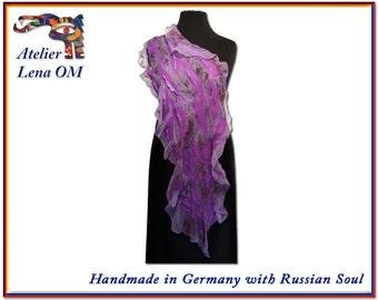 Women's nuno felt scarf, felted wool and silk lilac amethyst color chiffon garment, ooak handmade, gift idea for her, woman, lady