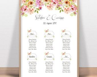 Marriage Tableau du Mariage printable customizable watercolor, wedding guest list