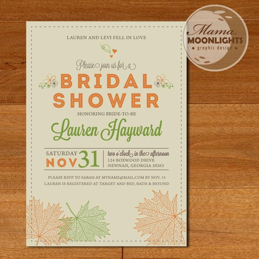 Autumn Bridal Shower Wedding Modern Printable Invitation
