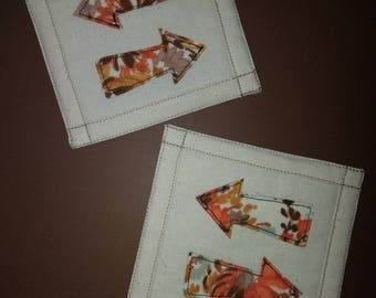 Arrow Quilted Coasters, fall colored coasters, speckled coasters