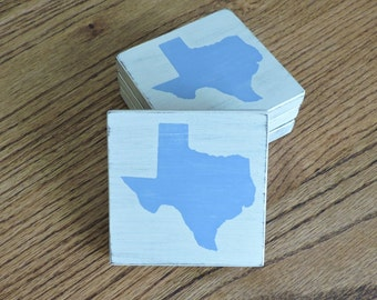 Any State, Pick Colors, Custom Wooden State Coasters, Set of 4, Wedding, Housewarming, Texas, Baylor