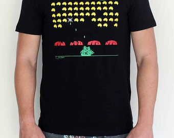 Space Invasion Pop-Art T-Shirt for teenage boys and men by Merry Sparks