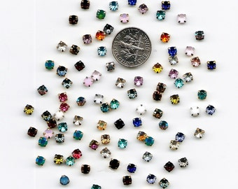 100 4mm Chaton Rose Montees Size 16ss Assorted Colors and Styles Sew On Rhinestones