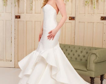 Grace Philips Original- August. Ivory Mikado Fishtail Wedding Gown