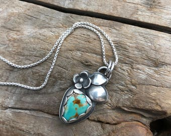 Natural Turquoise Bloom Sterling Silver Necklace. BLOOM mini collection. Boho Flower floral silversmith pendant December Birthstone