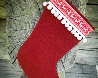Christmas Stocking Personalized Stocking Burlap Stocking Christmas Gift Christmas Decor Holiday Decor Christmas Ornament Scandinavian