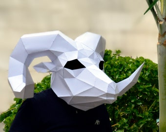 Make your own Rams Head Mask.   papercraft   Digital Download   ram sculpture   animal sculpture   origami   paper decorations