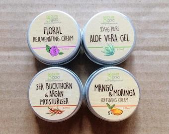 4 x 10ml Pocket Moisturisers - Floral Rejuvenating Cream, Aloe Vera Gel, Sea Buckthorn & Argan and MSM Beauty Cream