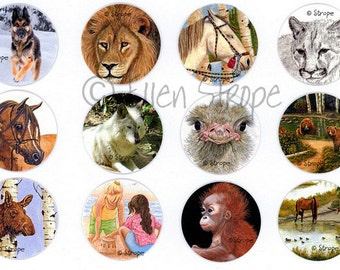 STICKERS, Envelope Seals, Animals, Wildlife, Art, Ellen Strope, Repositionable adhesive, gifts, Fun stickers