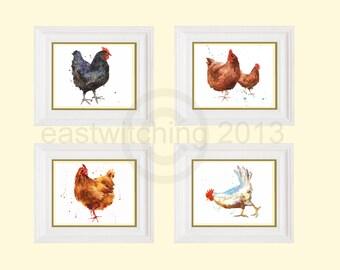 Watercolor CHICKEN prints, chicken lover gift, hen watercolors