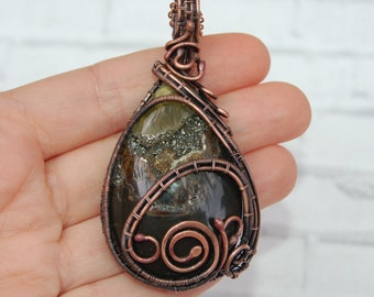 """wire wrapped pendant """"Infinity""""-wire wrapped pendant- copper pendant with simbirtsit- wire wrap jewelry-necklace with stone-ammonite"""