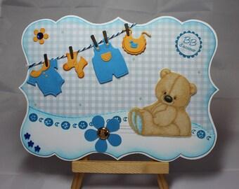 Card baby boy, kids, Teddy bear, clothes, baby, flower, felt, handmade