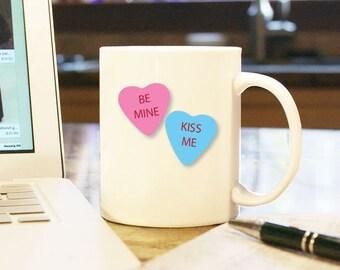 "Valentines Day Gift ""Be Mine"" ""Kiss Me"" Sweetheart Candy Heart Home Decor 11 oz White Coffee Mug Cup Home Decor Boyfriend Girlfriend Love"