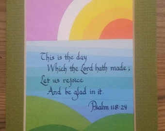 This is the Day Psalm 118:24 Rainbow Calligraphy Matted Art