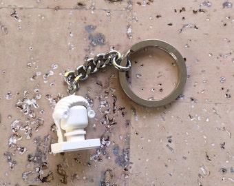 Tiny Brick Schiller Key Ring Using LEGO® Parts - Keychain - Freidrich Schiller - German Romantic Author - German Philosopher  - Schiller