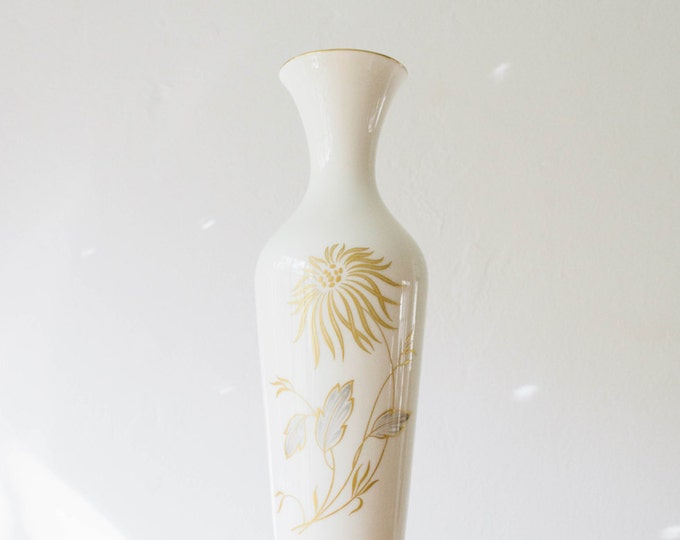 Mid Century Glazed Ivory Gold Grey Botanical Glazed Porcelain Vase // Hutschenreuther West Germany // 1950s Home