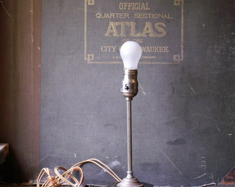 Vintage 1920's Railroad Dining Car Lamp with Heavy Weighted Base