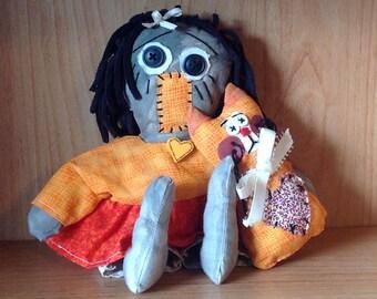FREE SHIPPING!  Handmade primitive folk art doll with cat