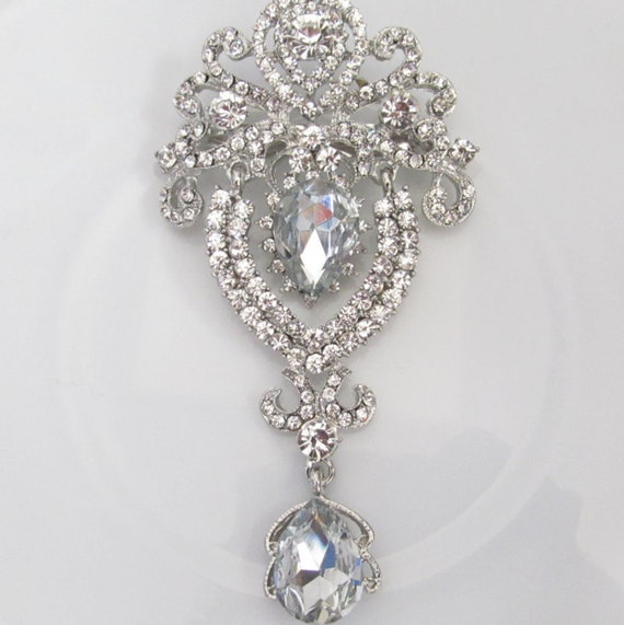 Crystal Hanging Rhinestone Brooch / Bridal Brooch / Crystal Brooch Component / Sqb 14 by Etsy