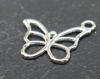 Sterling Silver Butterfly Charm 15mm