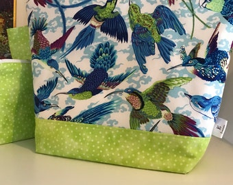 Medium Tropical Bird Wedgetote with matching Notions Pouch