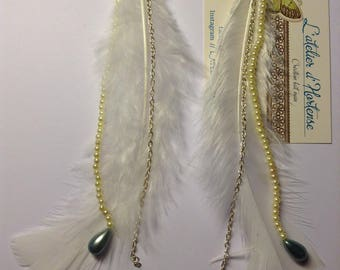 Earrings feather and Pearl White