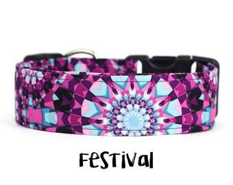 Girl Dog Collar, Boho Dog Collar, Mandela Dog Collar, Hippie Dog Collar, Purple Dog Collar, Mandela (Upgrade to Metal Buckle or Martingale)