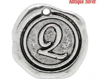 """5pcs. Antique Silver LARGE Letter """"Q"""" Alphabet Letter - 18mm x18mm - Wax Design"""