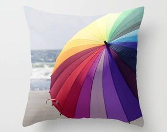 Throw Pillow Case, Decorative, Home Decor, Umbrella, Seaside, Ocean, beach, summertime, by RDelean