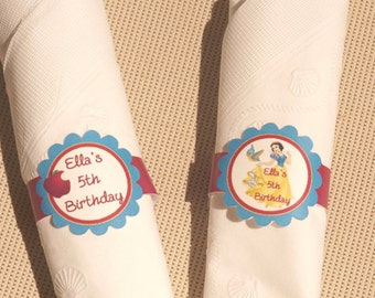 Party napkin wraps, Personalized  napkin labels, Princess party favors, Princess Birthday Party. Set of 7.
