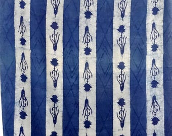 fabric, cotton block print with blue and Ecru stripes