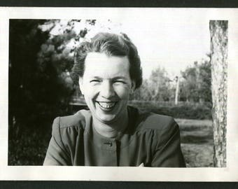 Vintage Snapshot Photo Happy Smiling Woman Toothy Smile 1940's, Original Found Photo, Vernacular Photography