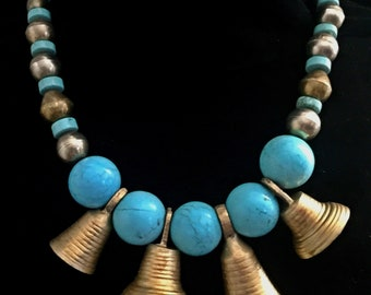 Turquoise & brass bell necklace
