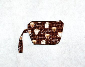 Wristlet Cosmetic Bag, For Coffee Lovers, Brown, Latte, No Shipping Charges, Ready To Ship TODAY, AGFT 229