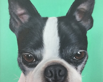 8x10 Boston terrier gift custom dog portrait painting on canvas wall art
